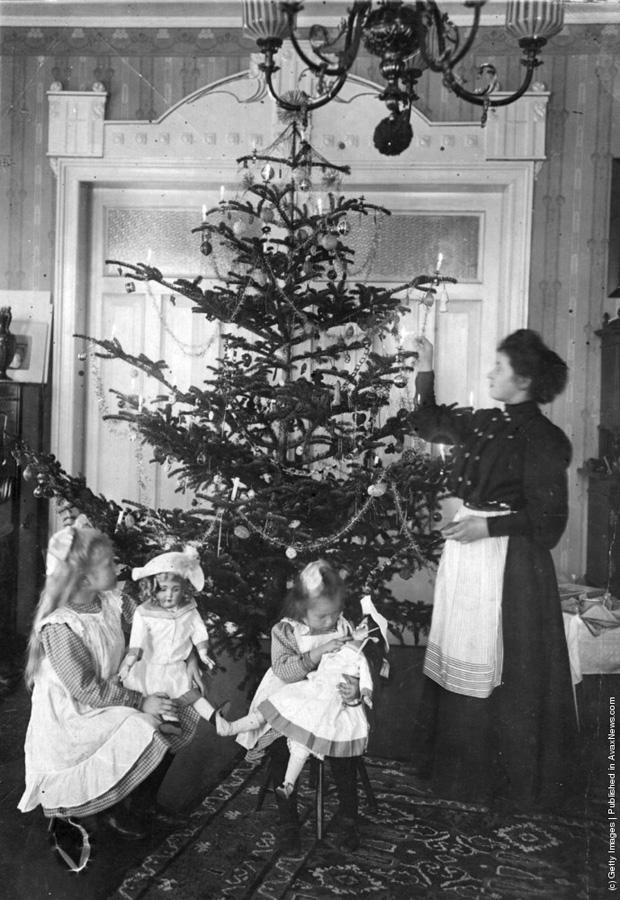 """1905(circa) -"""" Pom de Crăciun intr-un salonaș eduardian."""" ( Hulton Archive/Getty Images)."""