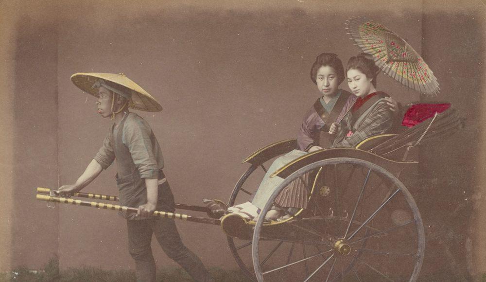 Kusakabe Kimbe Femei cu umbrelă în ricșă